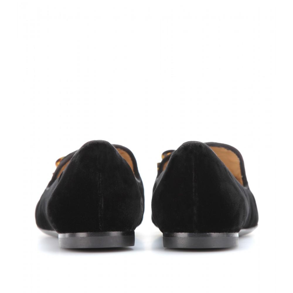 169bd6f7cb5 Lyst - Ferragamo Scotty Velvet Slipper-style Loafers in Black