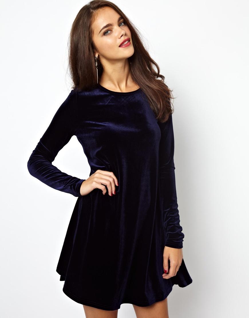 Glamorous Velvet Swing Dress In Blue Navy Lyst