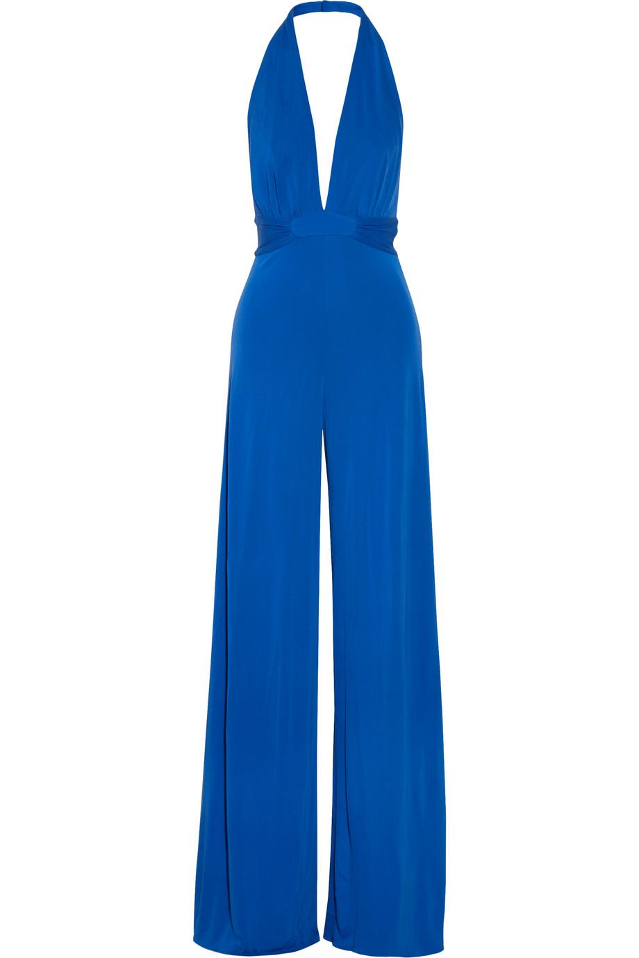 e9beac65110fd Lyst - Issa Silkcrepe Halterneck Jumpsuit in Blue