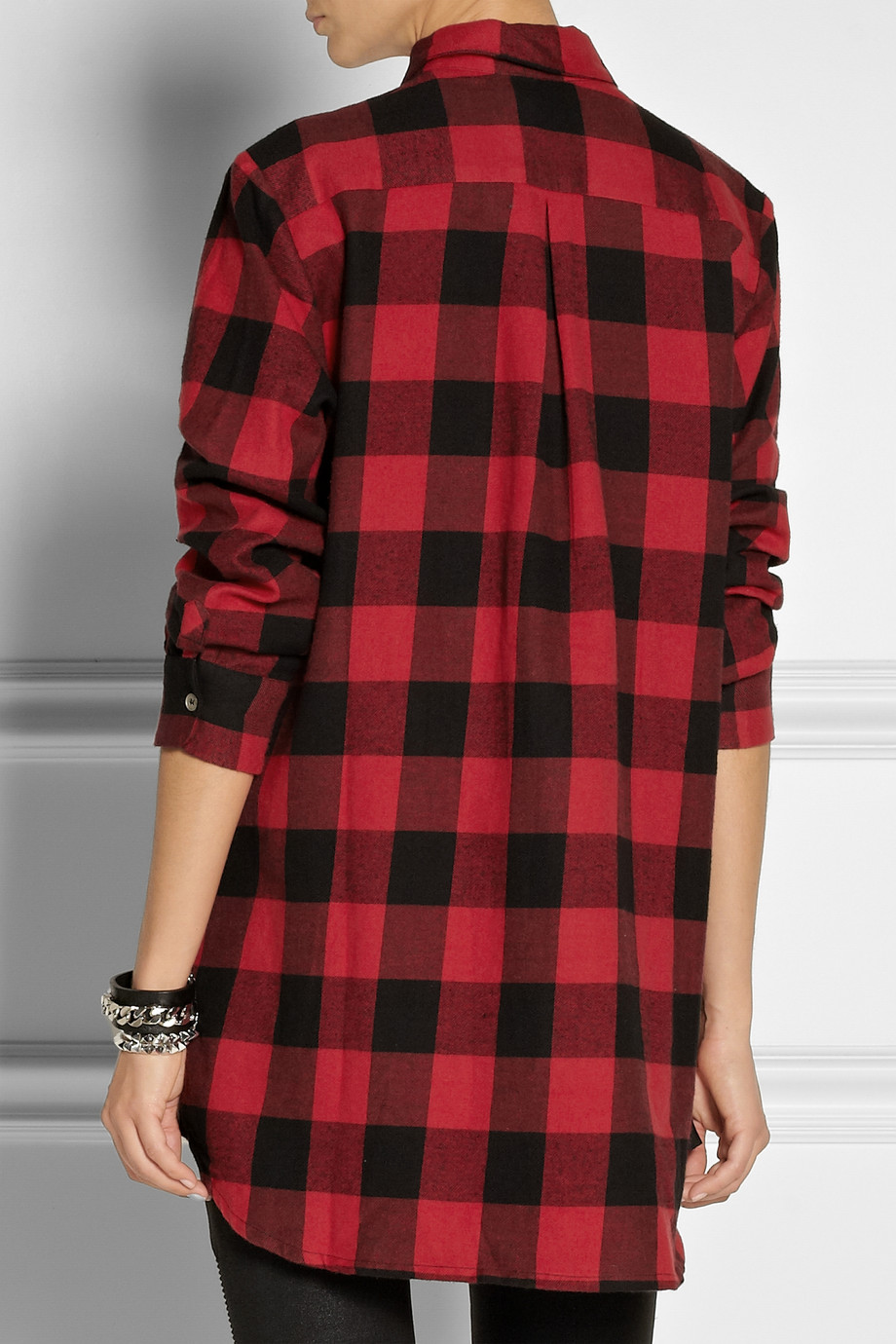 Lyst Maje Degriffe Oversized Plaid Cotton Shirt In Red