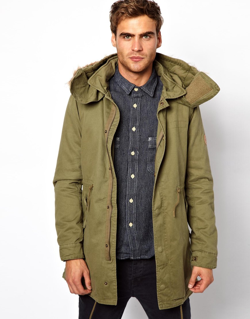 Asos Native Youth Sherpa Fur Lined Hood Parka in Green for Men | Lyst