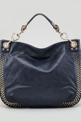 Rebecca Minkoff Luscious Mini Studded Hobo Bag Navy - Lyst