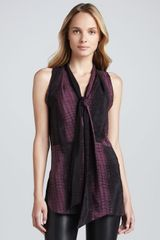 Robert Rodriguez Crocprint Silk Scarf-detail Top - Lyst