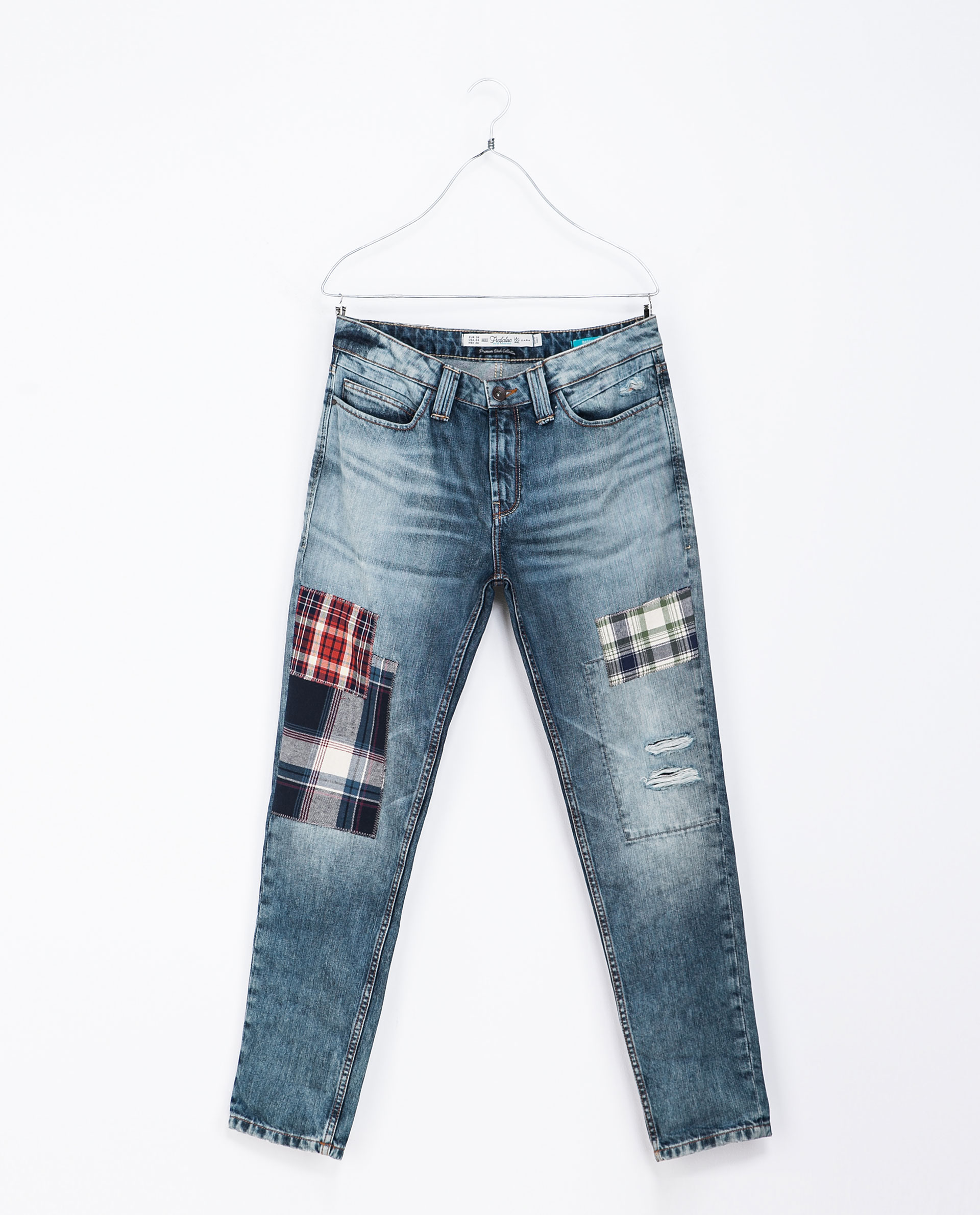 zara with checked patches in blue lyst