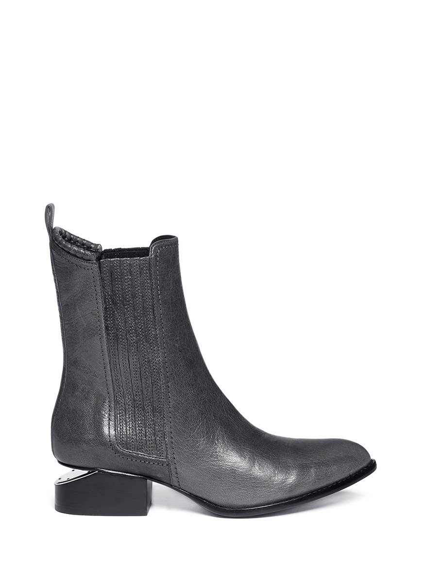 wang anouck cutout heel leather boots in gray