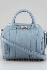 Alexander Wang Rockie Small Crossbody Satchel Bag Mercury Light Blueyellow Golden - Lyst