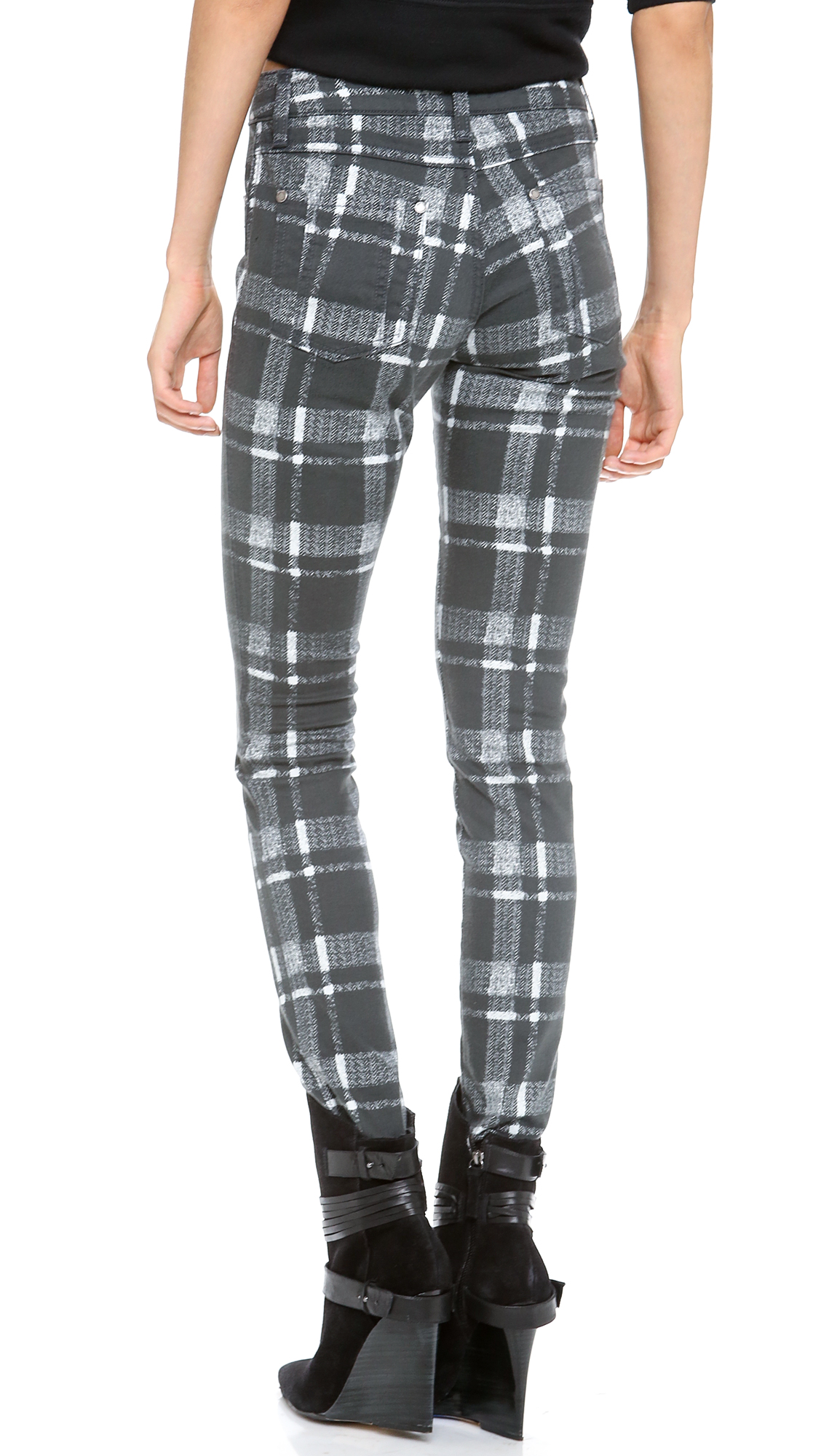 Alice   olivia Alice Olivia Textured Plaid Skinny Jeans in Gray | Lyst