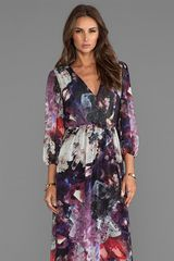 Alice + Olivia Alice Olivia Lousia Blouson Sleeve Maxi Dress in Purple - Lyst