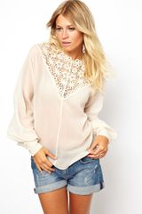 Asos Premium Top with Heavy Lace Insert Neckline - Lyst