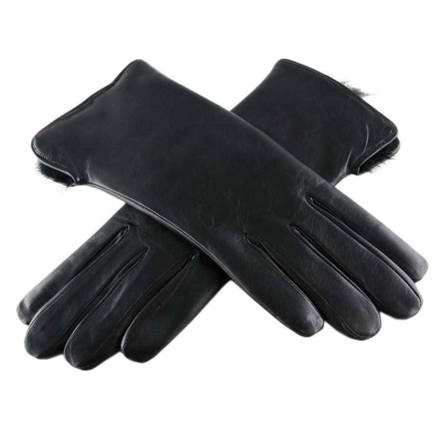 Black Co Uk Ladies Rabbit Lined Black Leather Gloves In