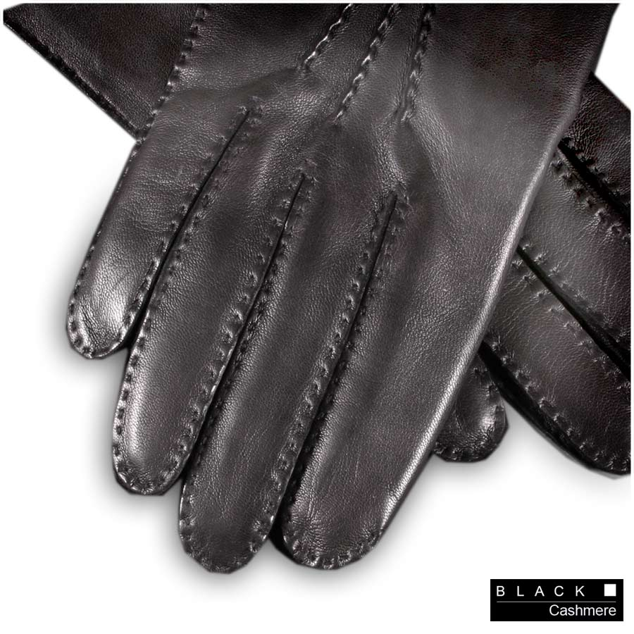 Ladies Leather Gloves Cashmere Lined Uk - Black co uk black men s cashmere lined leather gloves
