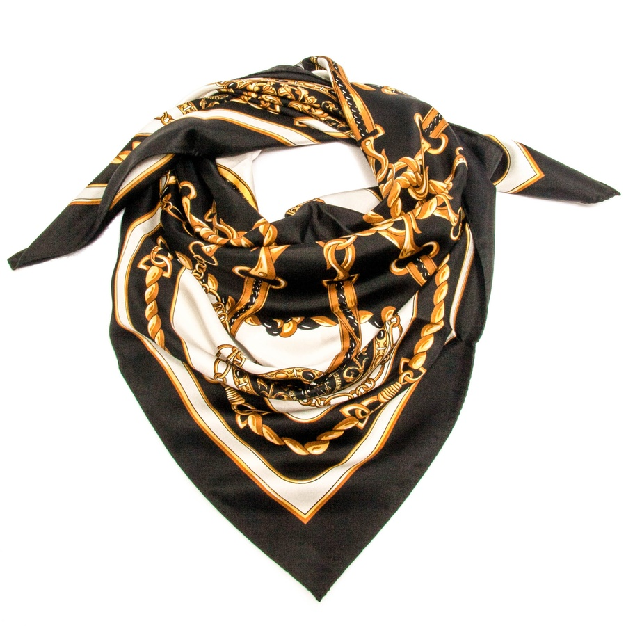 Black.co.uk Hand Embroidered Black And Gold Cashmere Ring Shawl in ...