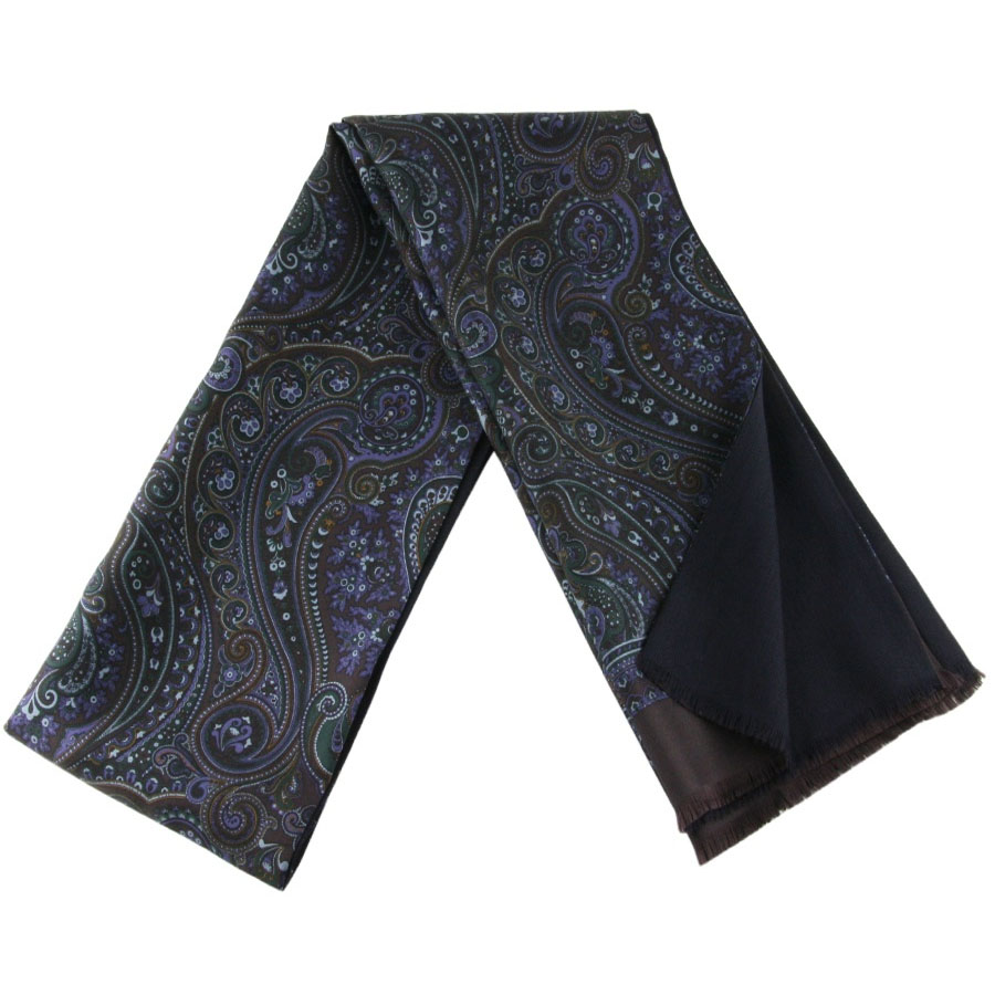 black co uk chocolate olive and damson paisley silk scarf