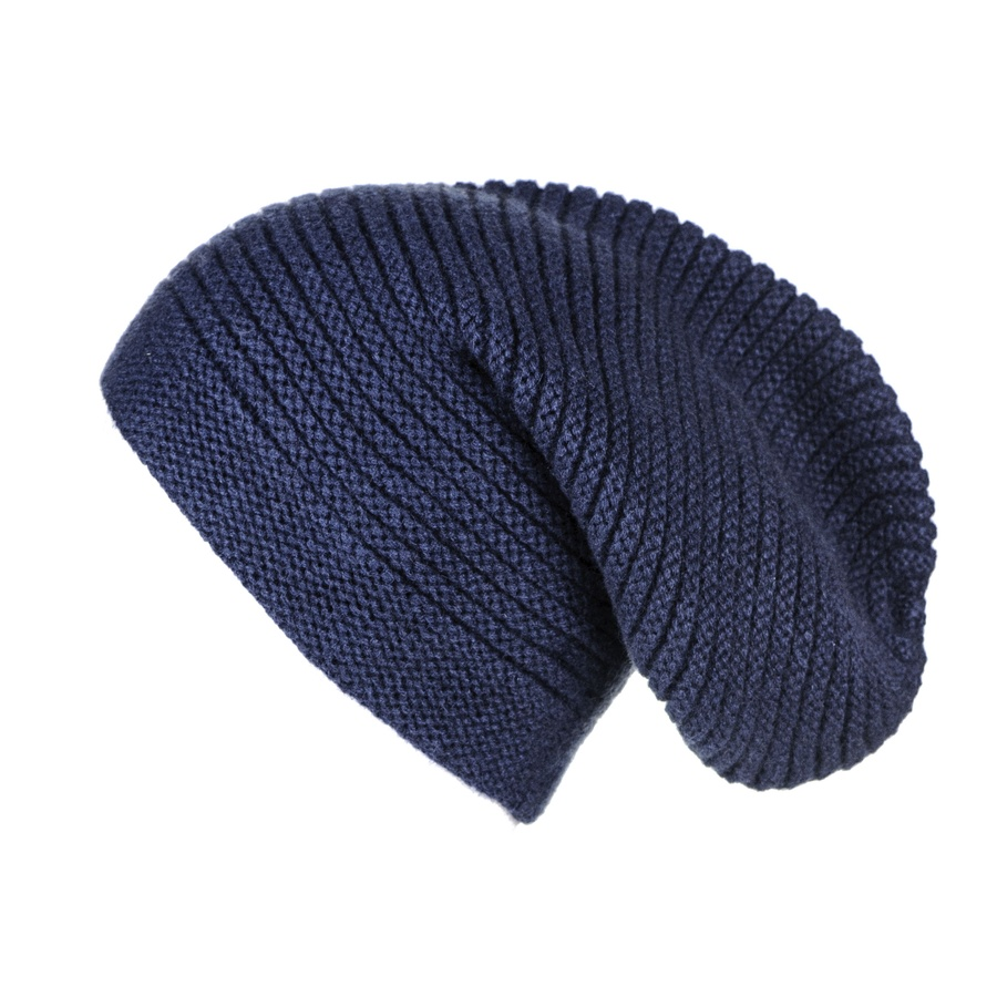 Knitting Pattern For Cashmere Beanie : Black.co.uk Midnight Navy Blue Rib Knit Cashmere Slouch ...