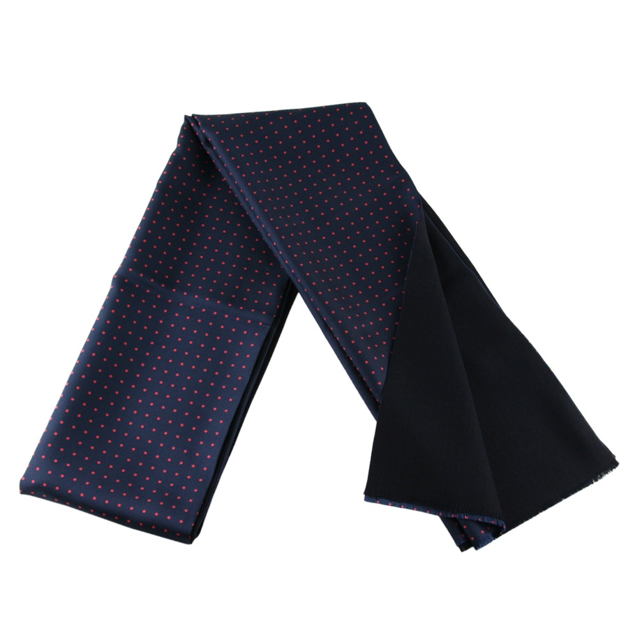 black co uk navy blue and polka dot italian silk scarf
