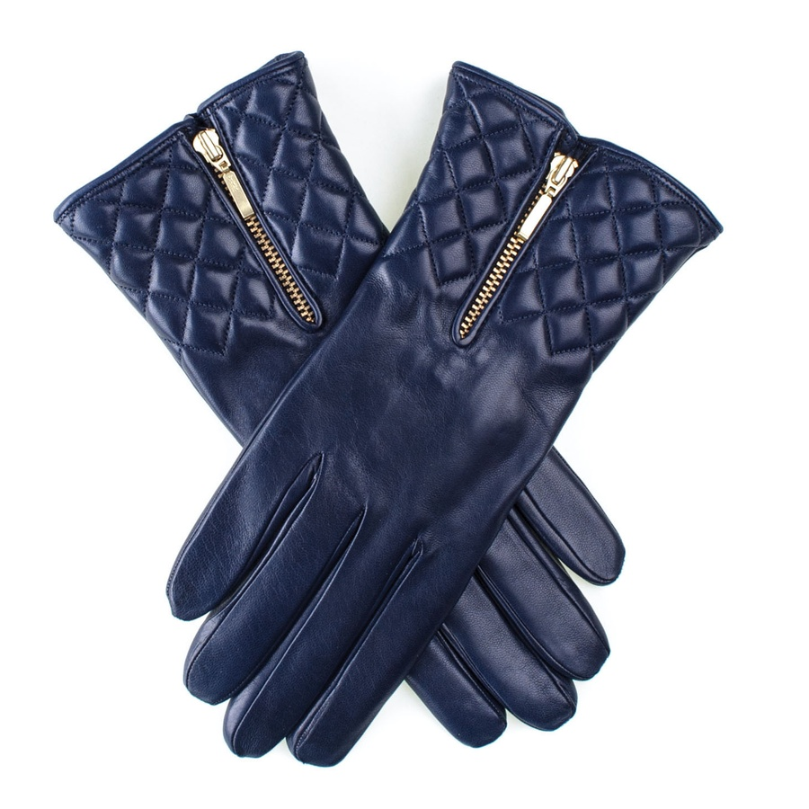 Ladies leather gloves blue - Blackcouk Navy Navy Leather Quilted Gloves With Cashmere