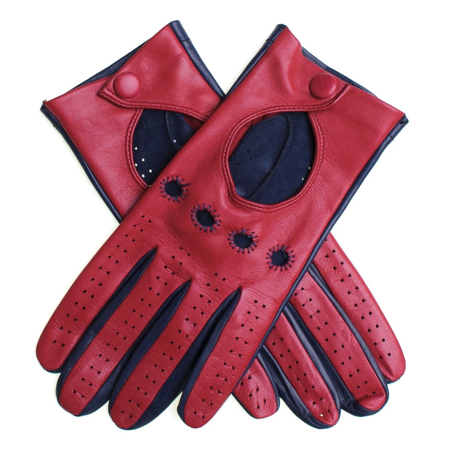 Honda leather driving gloves -  Black Co Uk Red And Navy Italian Leather Driving Gloves In Red For