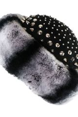 Black.co.uk Studded Suede and Rabbit Fur Hat - Lyst