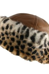 Black.co.uk Tan Leather and Leopard Print Rabbit Fur Hat - Lyst
