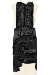Bottega Veneta Satin Appliquéd Wool Blend Dress - Lyst