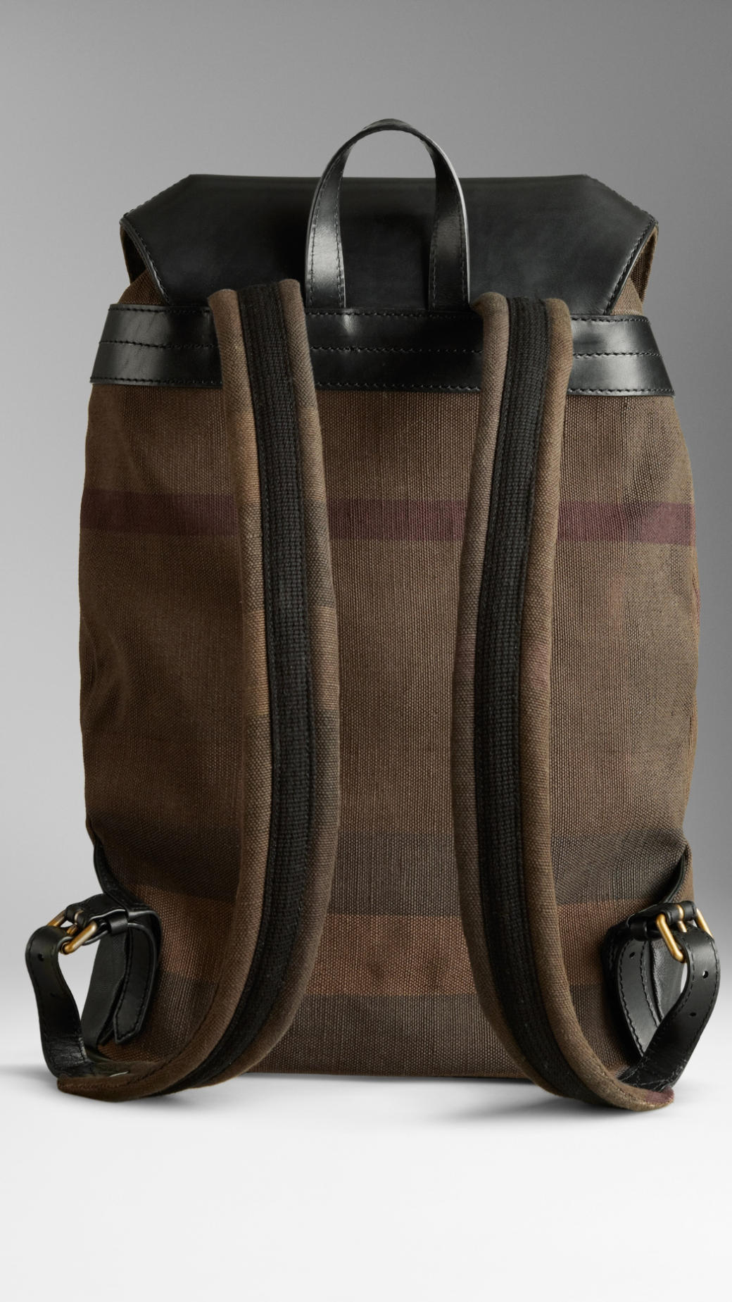 Lyst Burberry Check Canvas Backpack In Brown For Men