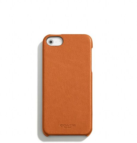 Coach Bleecker Leather Molded Iphone 5 Case in Orange for Men (SAFFRON)