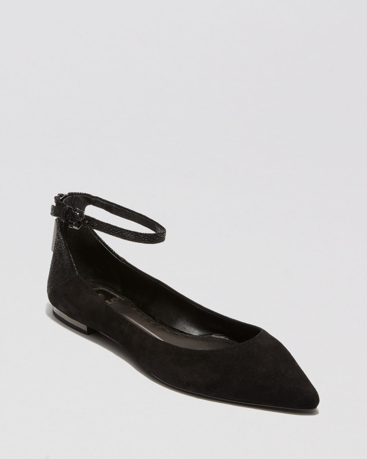 187cea63816 Dolce Vita Pointed Toe Flats Angie Ankle Strap in Black - Lyst