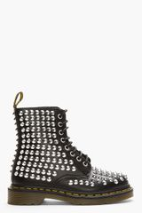 Dr. Martens Black Leather Studded 8-eye Boots - Lyst