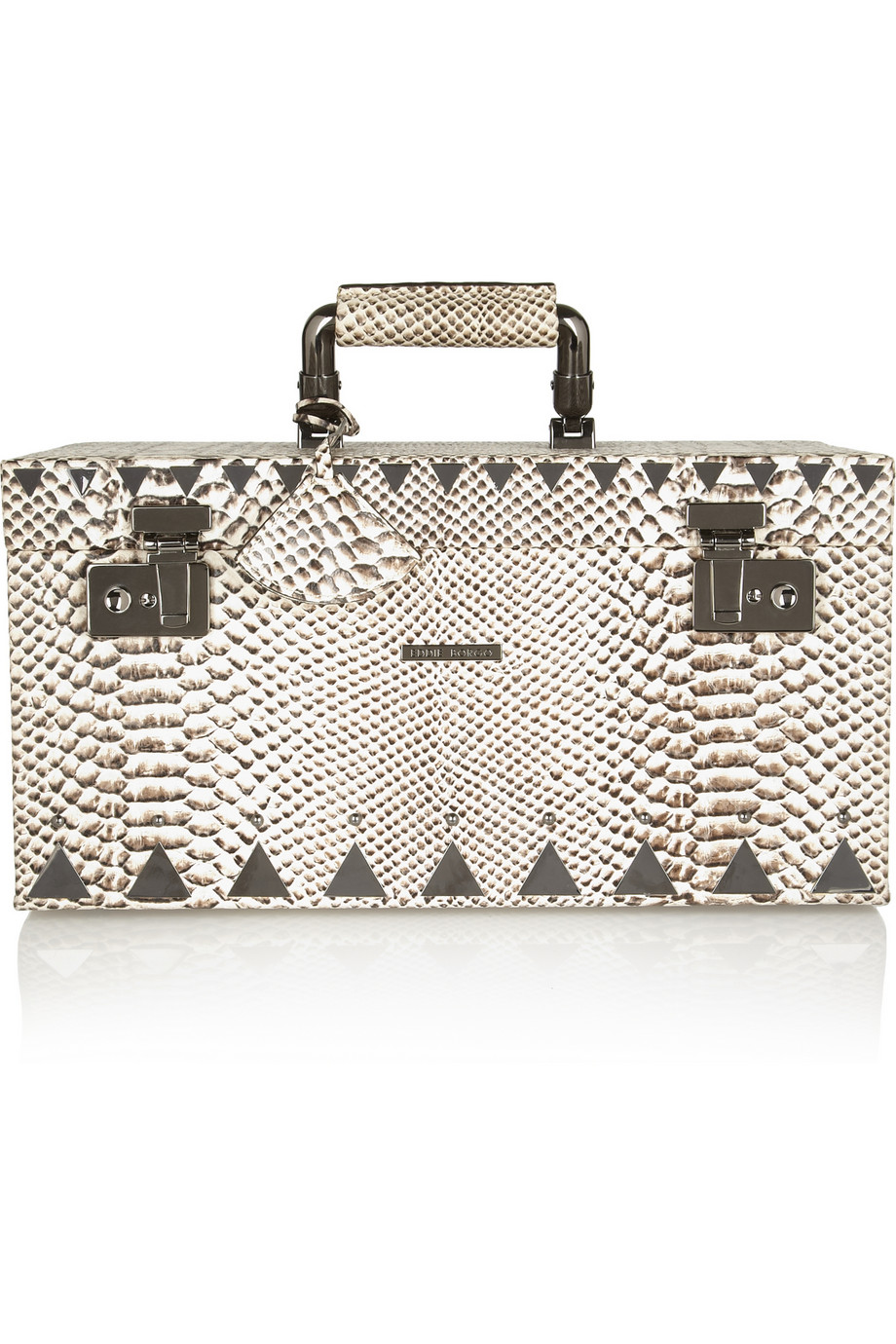 Lyst Eddie Borgo Snake effect Leather and Gunmetal Jewelry Box in