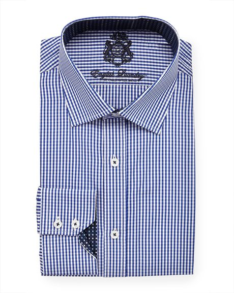 English Laundry Mini Gingham Dress Shirt Navy In Blue For