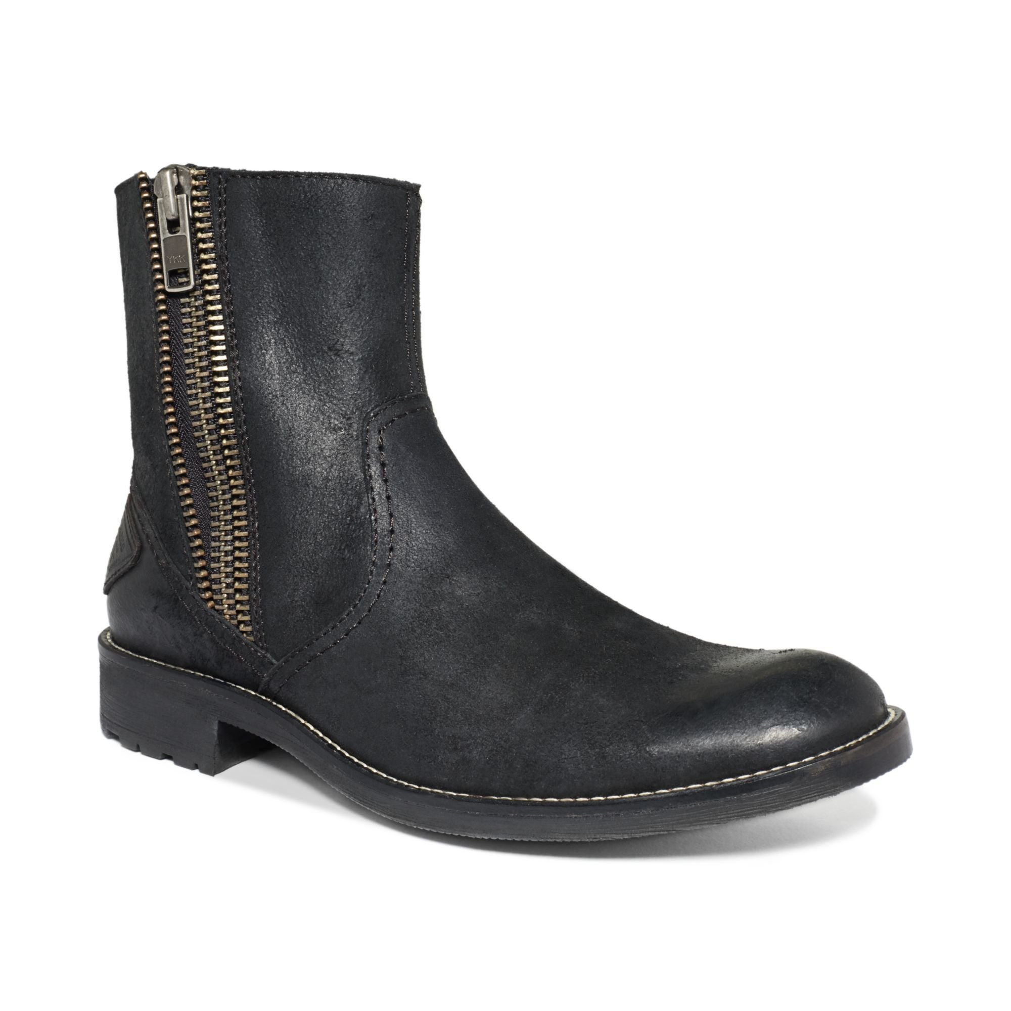 guess mens shoes cayden zip boots in black for lyst
