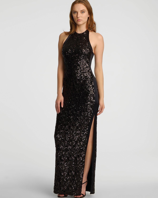Halston Sleeveless Halter Neck Sequin Jersey Gown in Black  Lyst