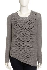 Helmut Lang Mixedknit Asymmetric Sweater Light Gray - Lyst