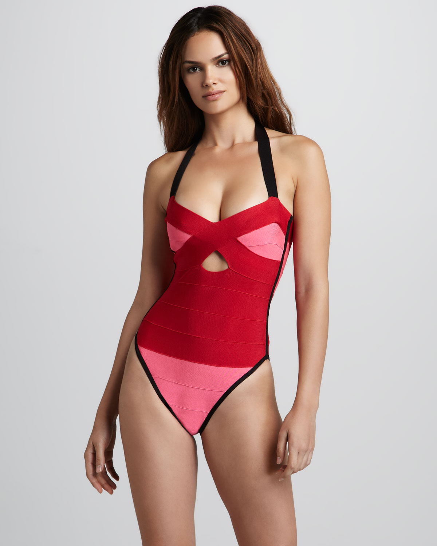 78c4913660b3d Hervé Léger Colorblock Bandage Onepiece Swimsuit in Pink - Lyst
