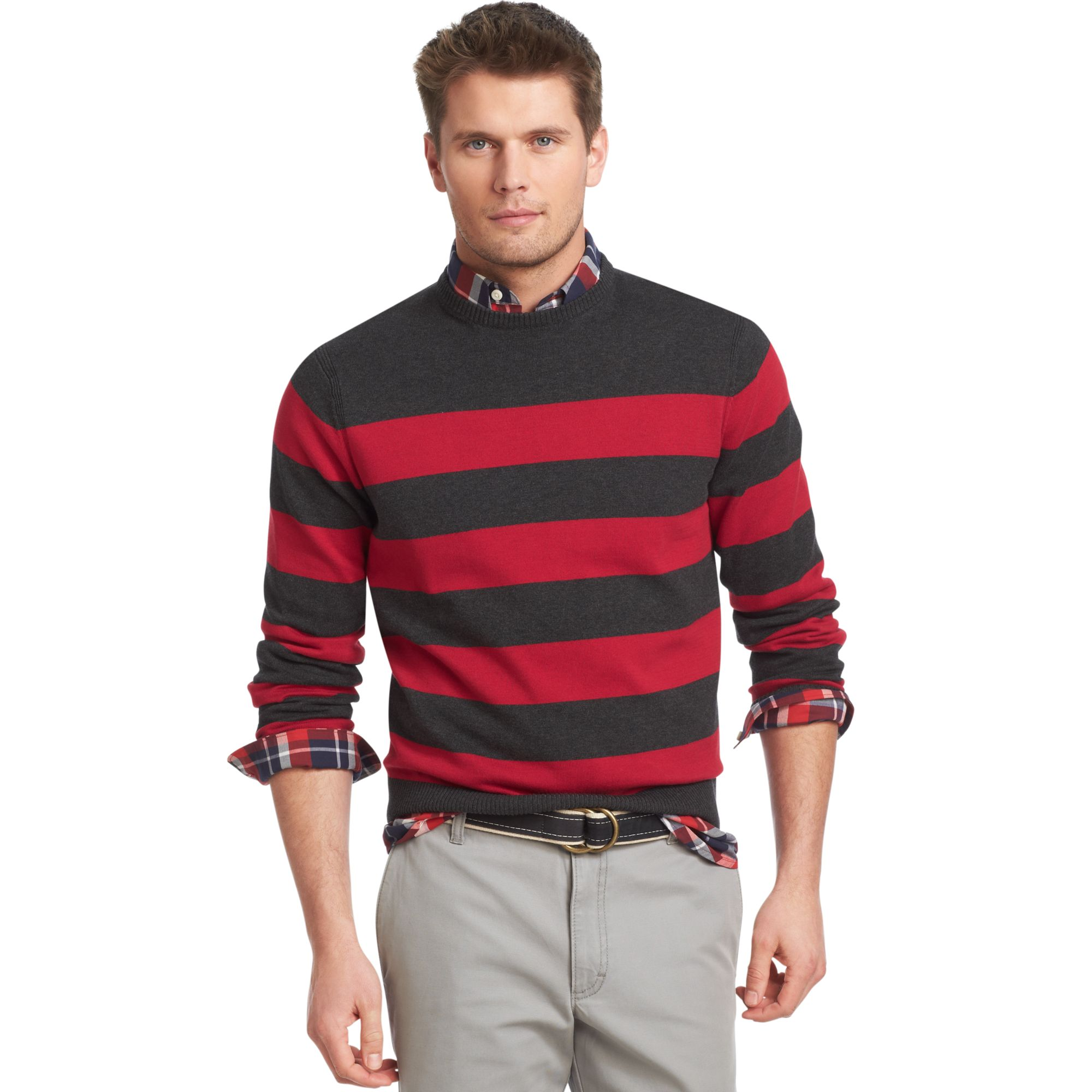 Izod Sweater Crew Neck Stripe Fine Gauge Light Weight Sweater in ...