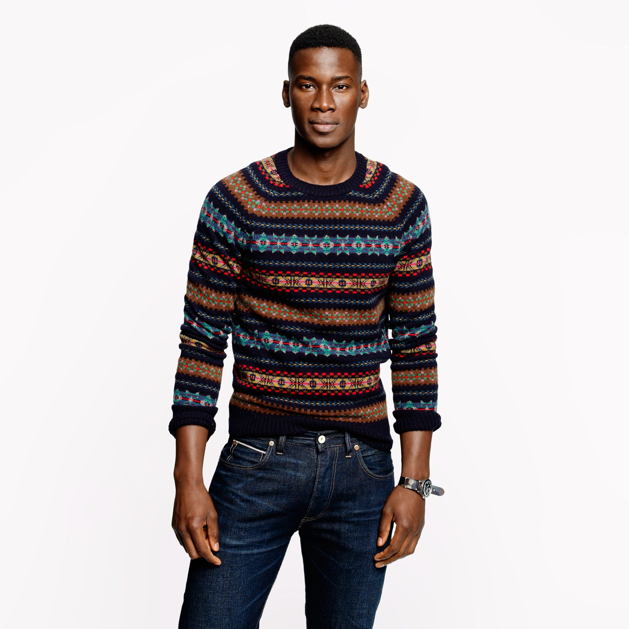 J.crew Alpine Fair Isle Sweater in Deep Navy for Men | Lyst