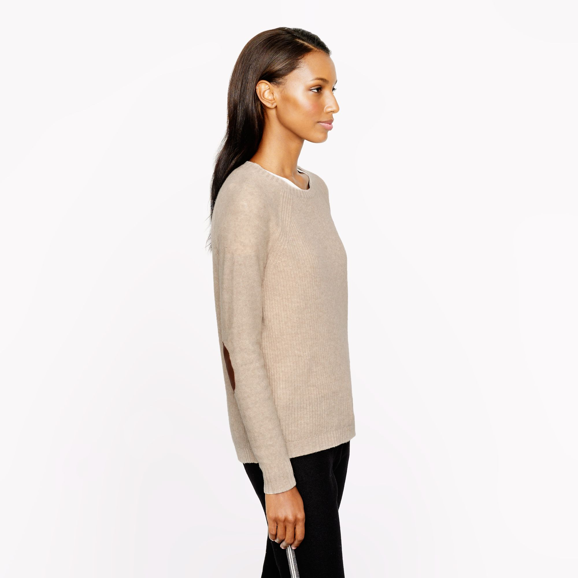Lyst Jcrew Elbow Patch Sweater In Natural