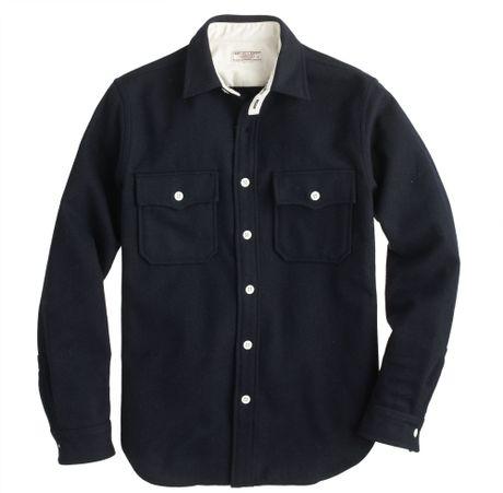 J Crew Wallace Barnes Wool Cpo Jacket In Blue For Men