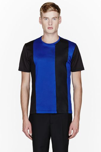 Jonathan Saunders Black and Blue Multifabric Martin T_shirt - Lyst