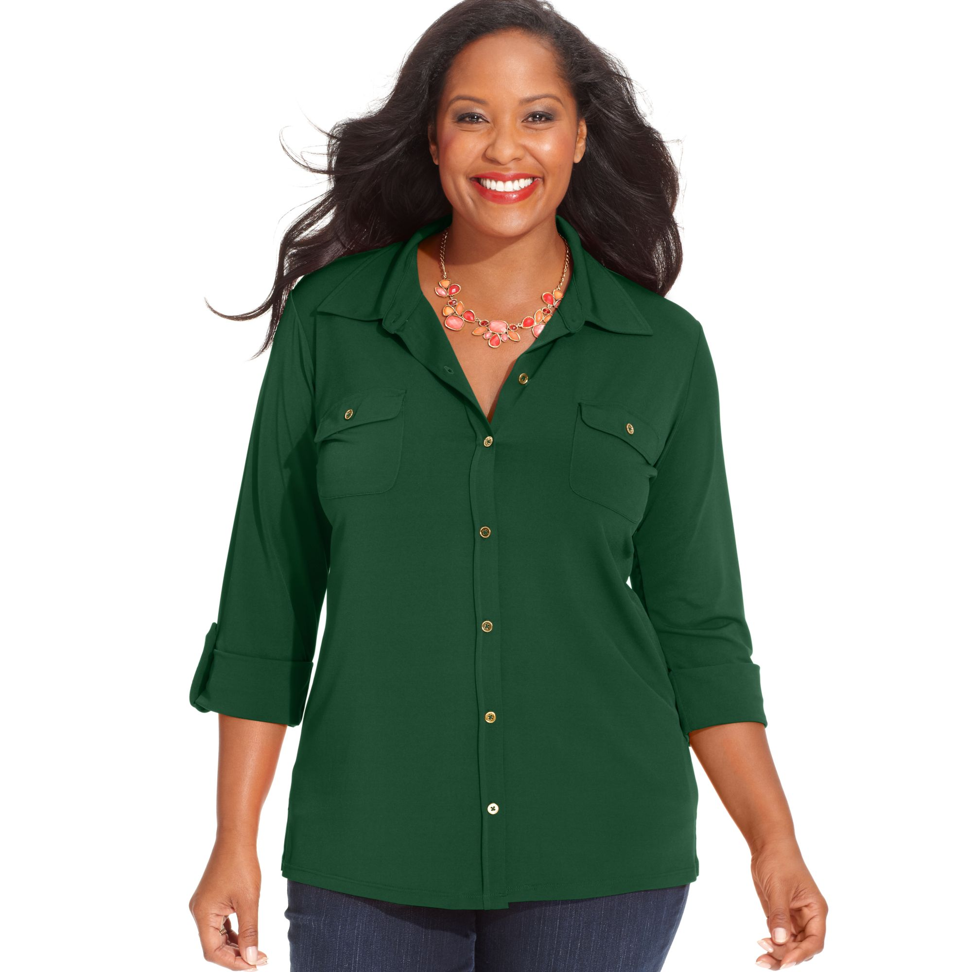 Jones new york three quarter sleeve utility shirt in green for New york and company dress shirts