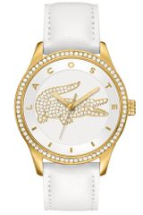 Lacoste Womens Victoria White Leather Strap 40mm - Lyst