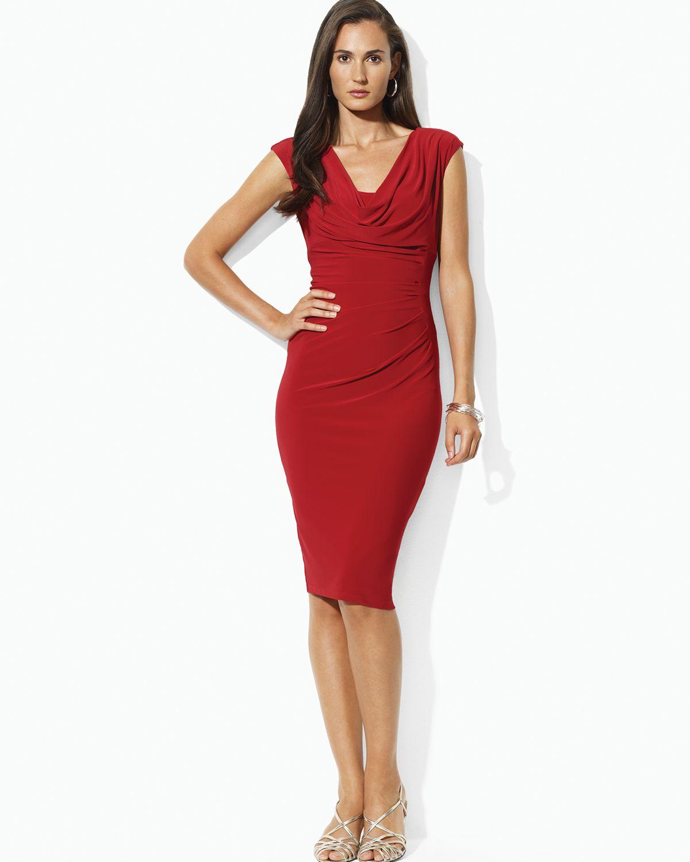 Lauren By Ralph Lauren Cowlneck Cap Sleeve Dress In Red Lyst