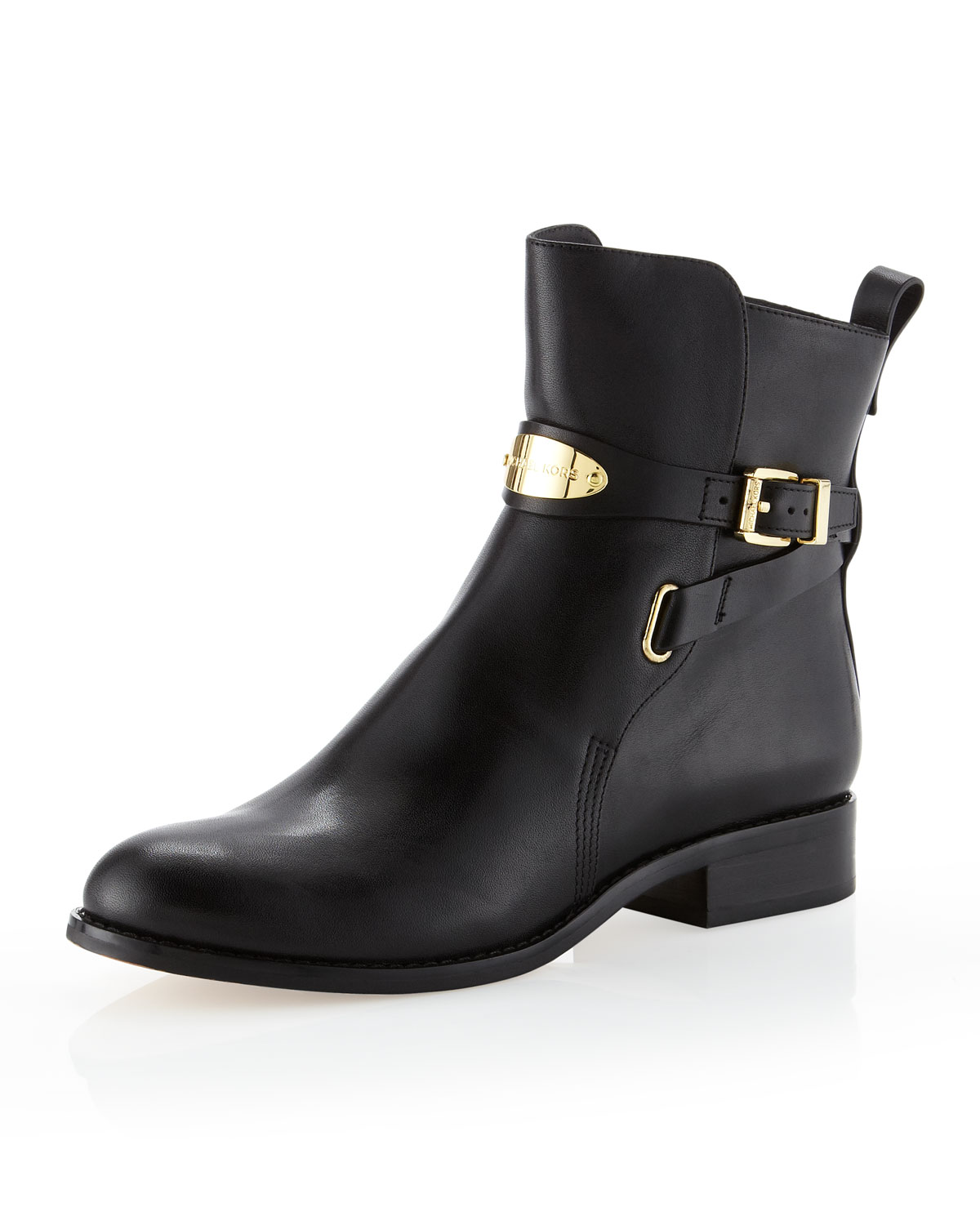 michael kors arley iconic sexy gold logo plate flat ankle boots ebay. Black Bedroom Furniture Sets. Home Design Ideas