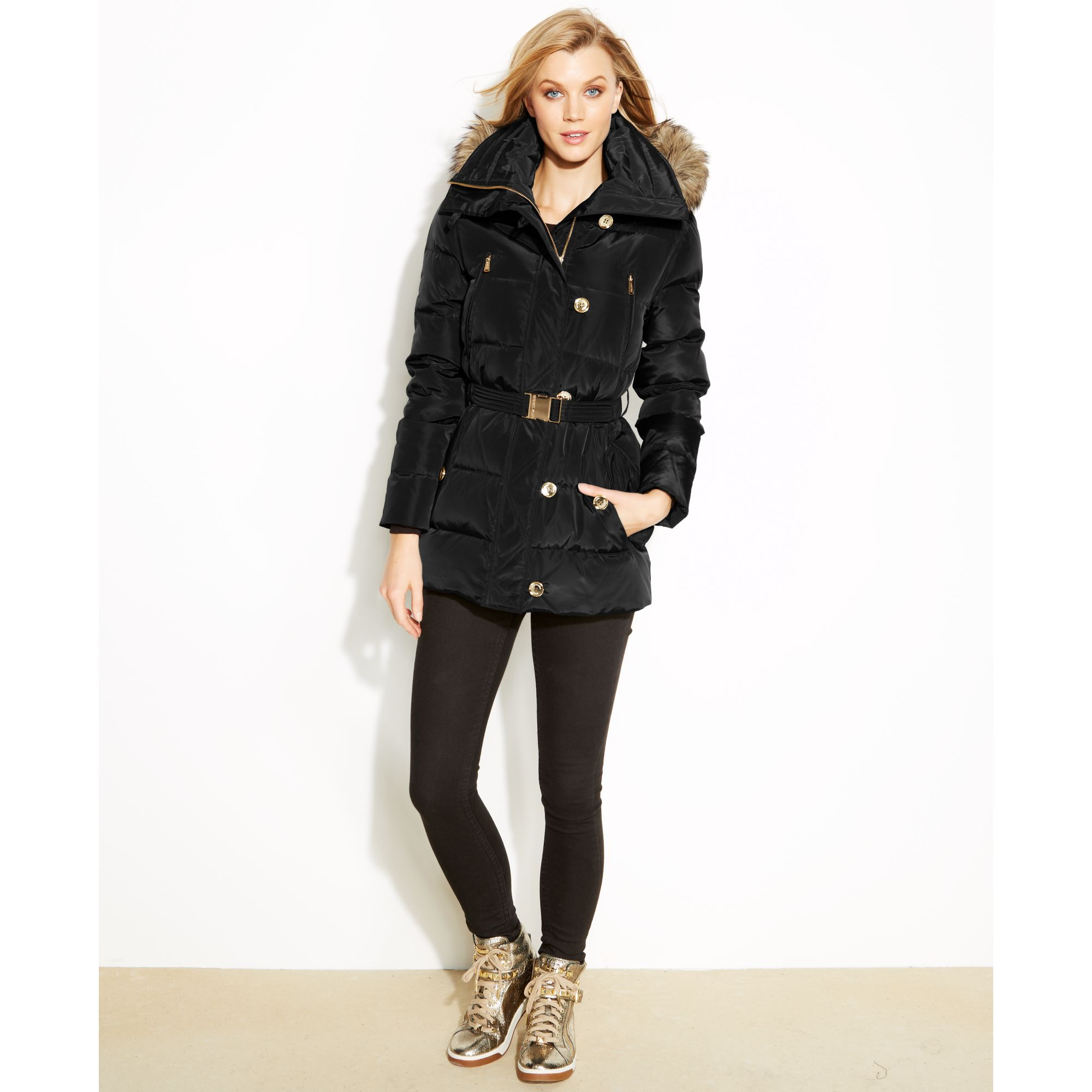 1c23ac16a6 Michael Kors Hooded Faux-furtrim Quilted Belted Puffer in Black - Lyst