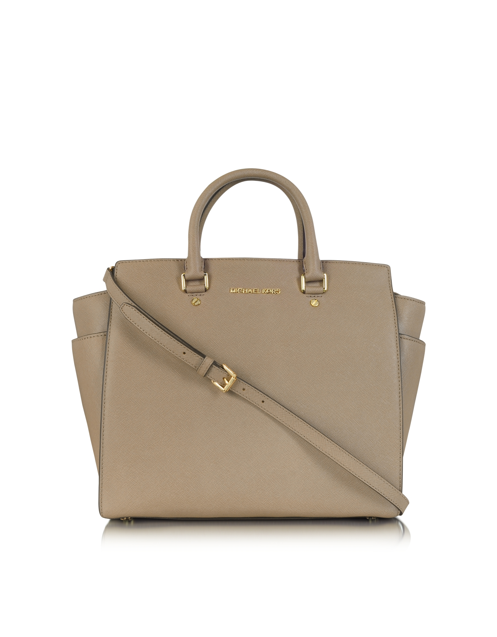 michael kors large selma saffiano leather satchel in beige taupe. Black Bedroom Furniture Sets. Home Design Ideas