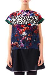 MSGM Floral and Leopard-print Silk Top - Lyst