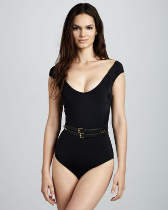 Oye Swimwear Sandy Scoopneck Swimsuit Black - Lyst
