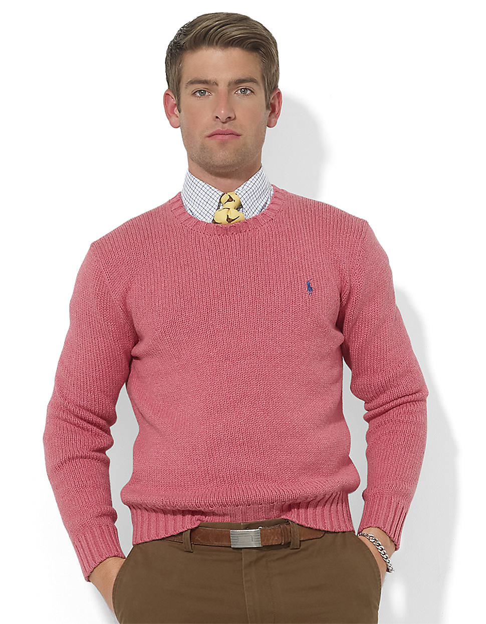 polo ralph lauren cotton crewneck pullover in red for men lyst. Black Bedroom Furniture Sets. Home Design Ideas