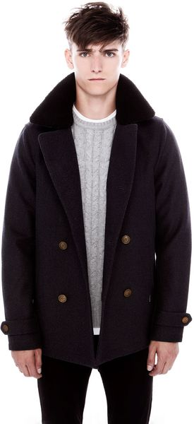 Pull&Bear Duffle Coat with Sheepskin - Lyst
