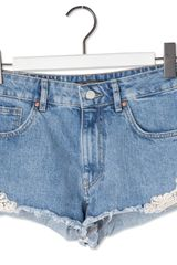 Pull&Bear Fringed Denim Shorts - Lyst